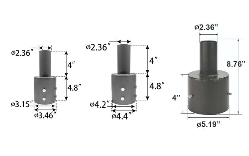 """3"""" 4"""" 5"""" round light pole tenon reducer to 2"""""""