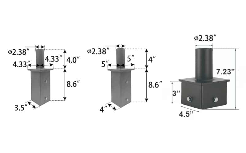 3 4 5 inch square light pole adapters