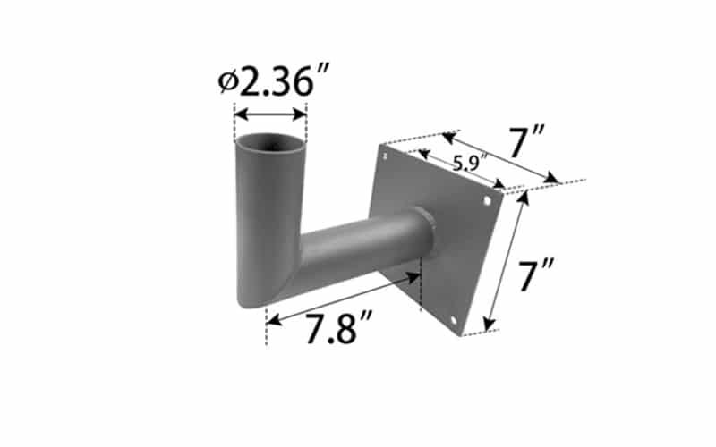 90 degree wall mount bracket size